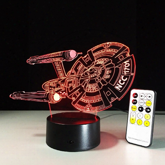 Yeduo 3d Battleship Spacecraft Led Illusion Mood Lamp Bedroom Table Lamp Night Light Bulbing Child Kids Friends Man Fami