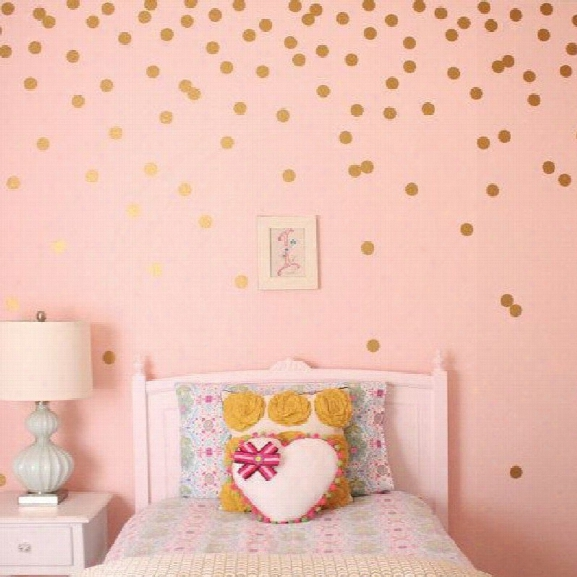 Yeduo 54 Gold Polka Dots Wall Sticker Baby Nursery Stickers Children Room Decals Home Decor Diy Vinyl Art 4cm