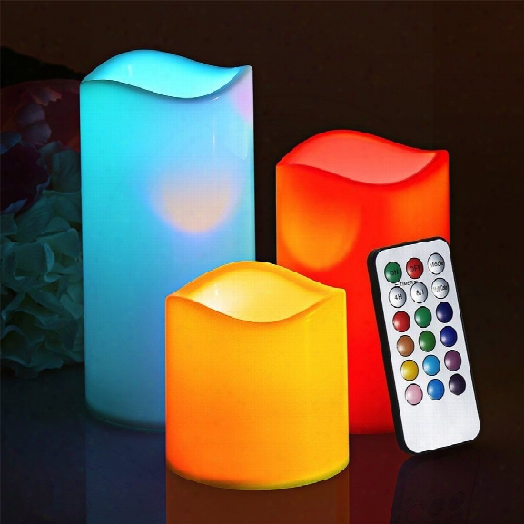 Youoklight 3pcs 1w Dc5v 12 Color Led Smokeless Flickering Electronic Candles Light No Batteries Included
