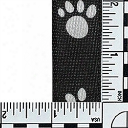 #400: 1 Inch Flat Nylon Webbing: Blackwith Reflective Paws