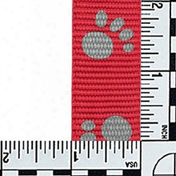 #401: 1 Inch Flat Nylon Webbing: Red With Reflective Paws