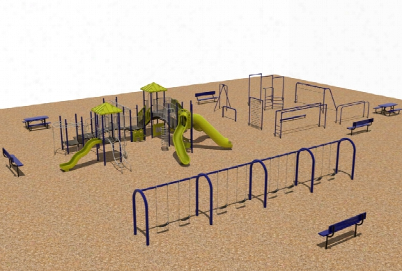Complete Playground And Fitness Course Swings Tables Benches