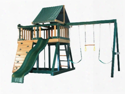 Congo Monkey Wooden Swing Set Design 1 - Green And Cedar