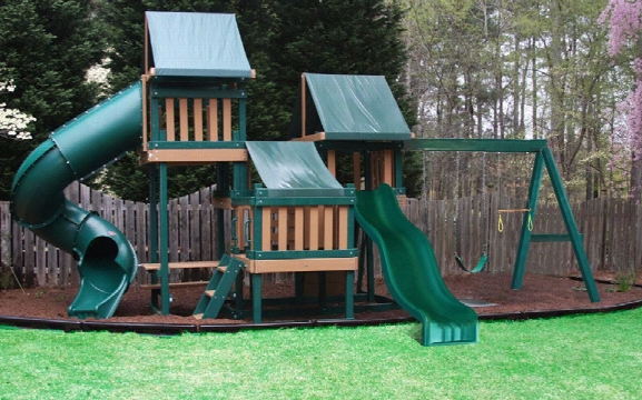Congo Monkey Wooden Swing Set Design 4 - Green And Cedar