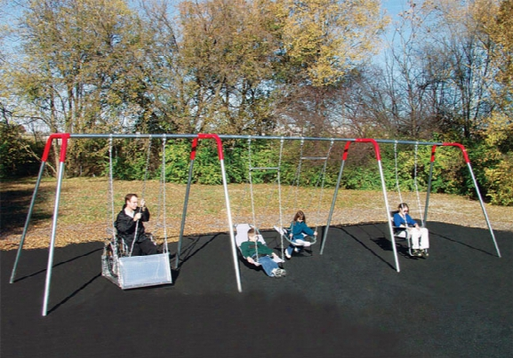 Heavy Duty Accessible Swing Frame With 2 Platform Swings