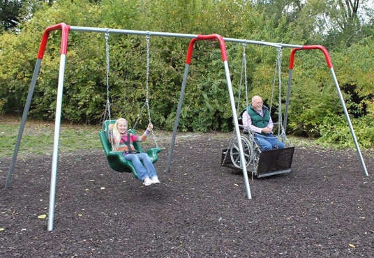 Heavy Duty Accessible Swing Platform - 2 Molded Seats