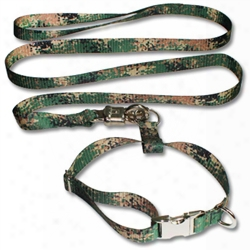K-9 Training Collar Leash Combo Set Patterned Pq Polyester Webbing