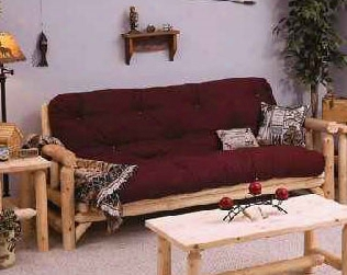 Rustic Log Futon With Mattress