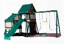 Congo Monkey Wooden Swing Set Design 2 - Green And Cedar