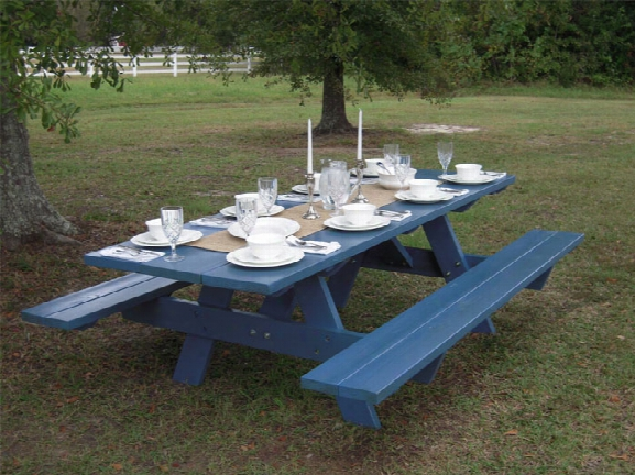 Wg American Made Hand Stained Heavy Duty 8 Foot Picnic Table