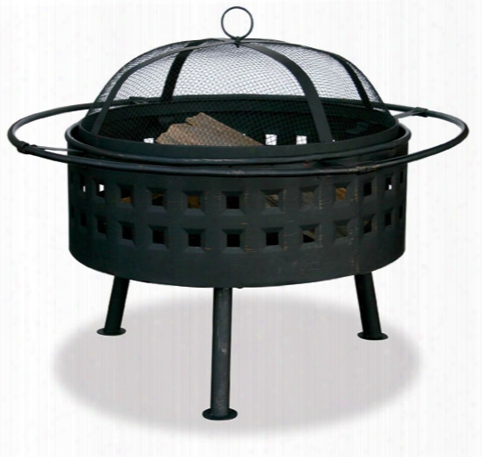 Aged Bronze Firebowl With Lattice Design