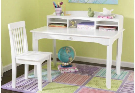 Avalon Desk With Hutch And Chair - White