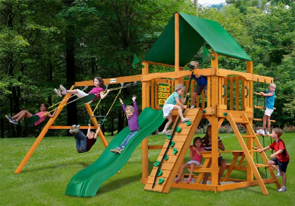 Chateau Ii Deluxe Ap Wooden Swing Set - Green Vinyl Canopy