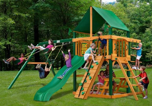Chateau Ii Deluxe Ts Wooden Swing Set - Green Vinyl Canopy