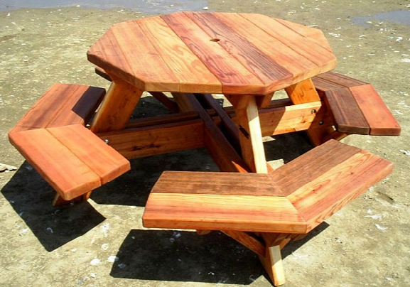 Forever 4 Foot Octagon Young Picnic Table With Benches