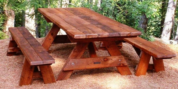 Forever 8-foot Mature Redwood Picnic Table With 2benches