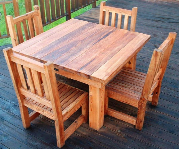 Forever Four-foot Patio Table Set - Mature Redwood