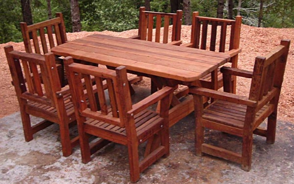 Forever Six-foot Picnic Table And Six Armchairs