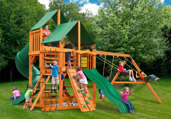 Great Skye I Deluxe Ap Wooden Swing Set - Green Vinyl Canopy