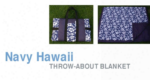 Hawaiian Flowers Blanket Blue Back