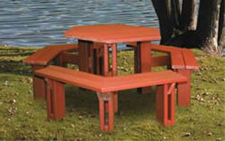 Hexagonal 6 Sided Picnic Table With Benches