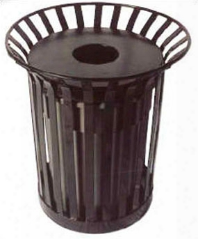 Lexington Receptacle With Flat Top Lid And Liner - 36 Gallon