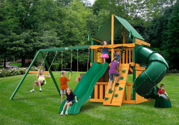Mountaineer Clubhouse Deluxets Wooden Swing Set Green Canopy
