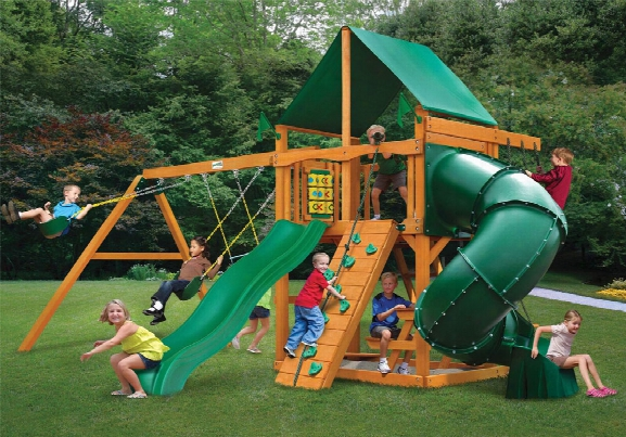 Mountaineer Deluxe Ap Wooden Swing Set - Green Vinyl Canopy