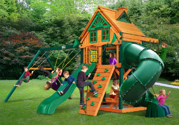Mountaineer Ts Treehouse Wooden Swing Set