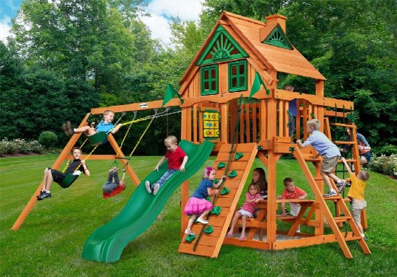 Navigator Ap Treehouse Wooden Swing Set With Monkey Bars