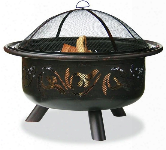Oil Rubbed Bronze Firebowl With Swirls Design