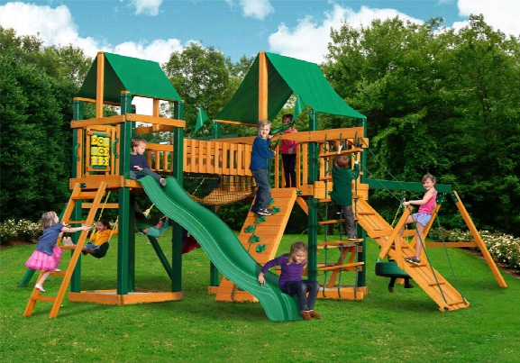 Pioneer Peak Ts Deluxe Wooden Swing Set - Green Vinyl Canopy