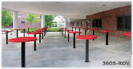 Round Food Court Table Inground 42 Inch High Diamond
