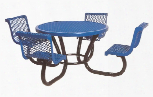 Round Portable Diamond Picnic Table 46 Inch-contoured Seats