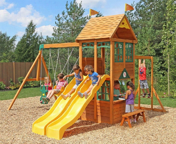 ..ryerson Two Slide Wooden Swing Set With Monkey Bars
