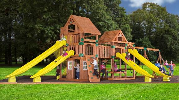 Safari Wooden Swing Set With Five Slides
