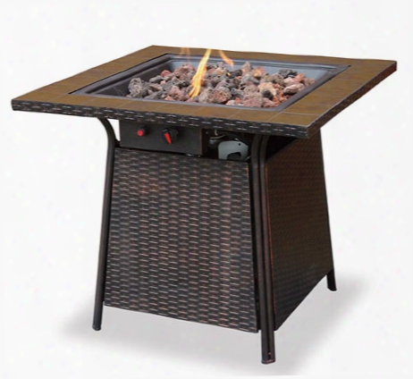 Tall Gas Outdoor Firebowl With Tile Mantel