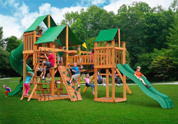 Treasure Trove Deluxe Ap Wooden Swing Set - Green Canopy