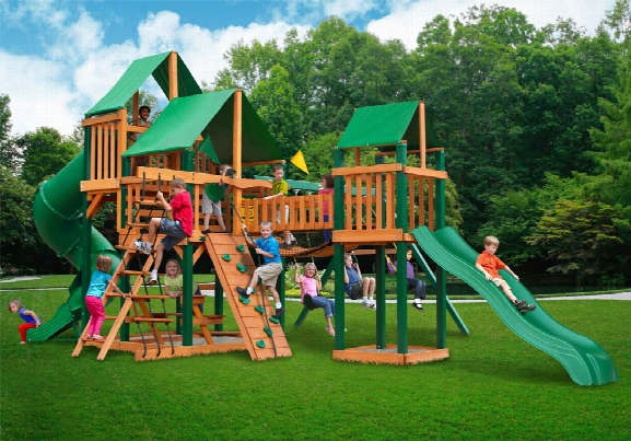 Treasure Trove Deluxe Ts Wooden Swing Set - Green Canopy