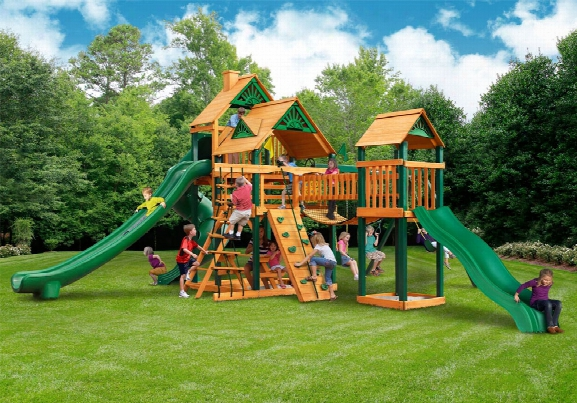 Treasure Trive Ii Ts Wooden Swing Set With Three Slides