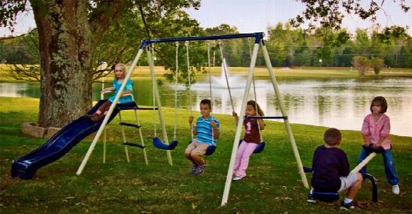 Triple Fun Metal Swing Set