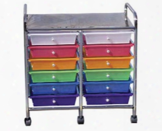 12-drawer Double-wide Mobile Organizer