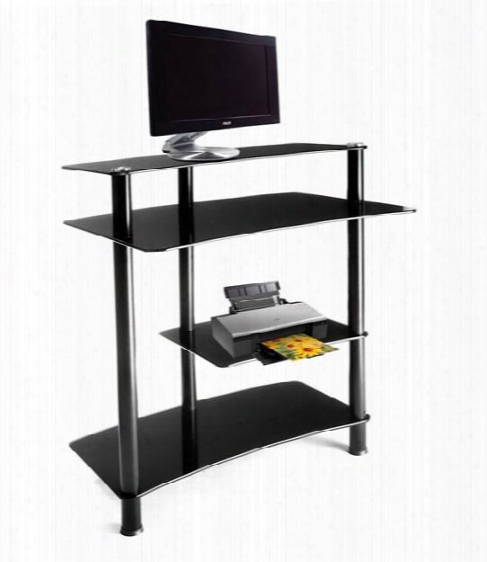 Black Glass And Aluminum Computer Desk Clear