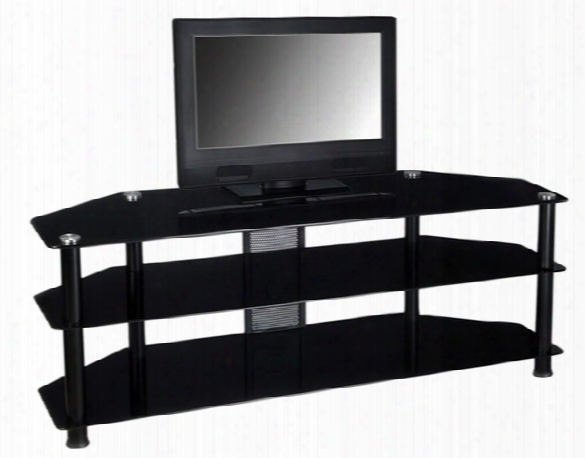 Black Tempered Glass And Aluminum 60 Inch Tv Stand
