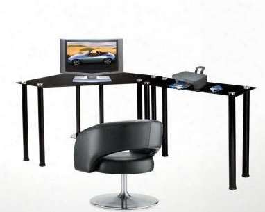 Black Tempered Glass Corner Computer Desk With Extension