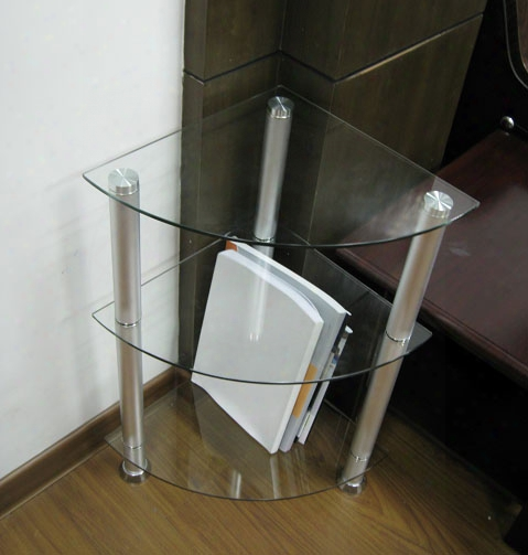 Corner Glass And Aluminum Bookcase Utility Stand