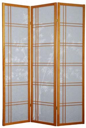 Double Cross Bamboo Tree Shoji Screen 3 Panel - Honey