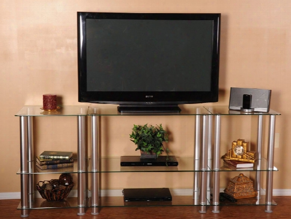 Glass And Aluminum 75 Inch Extra Tall Lcd Tv Stand