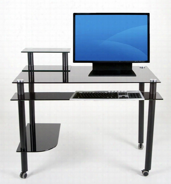 Glass And Aluminum Computer Desk Black Glass With Casters