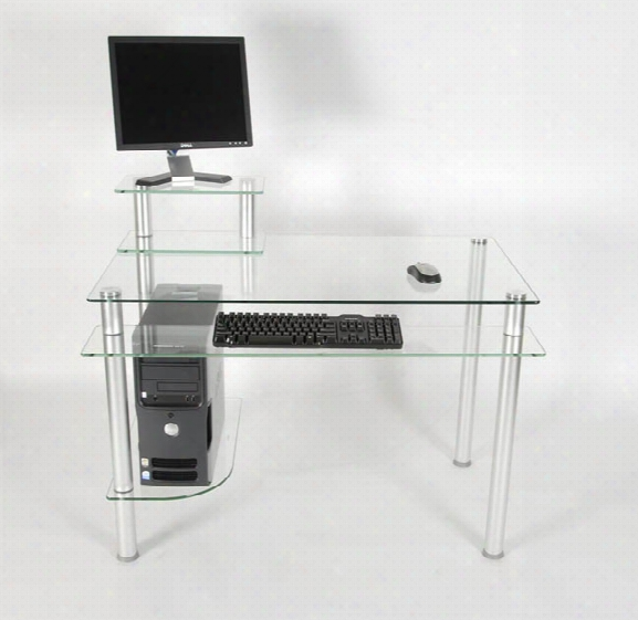 Glass And Aluminum Computer Desk Clear